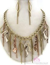 Womens Charm Chain Vintage Antique Twisted Coil Bib Tritone Fringe Necklace Set - $8.99