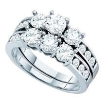 14k White Gold Round Diamond Bridal Wedding Engagement Ring Band Set 2.00 Ctw - $3,599.00