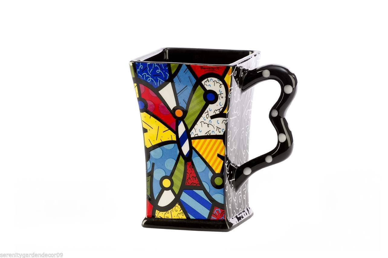 Romero Britto Dolomite Square Butterfly Mug 14 oz Gift Box  #3303015 NEW