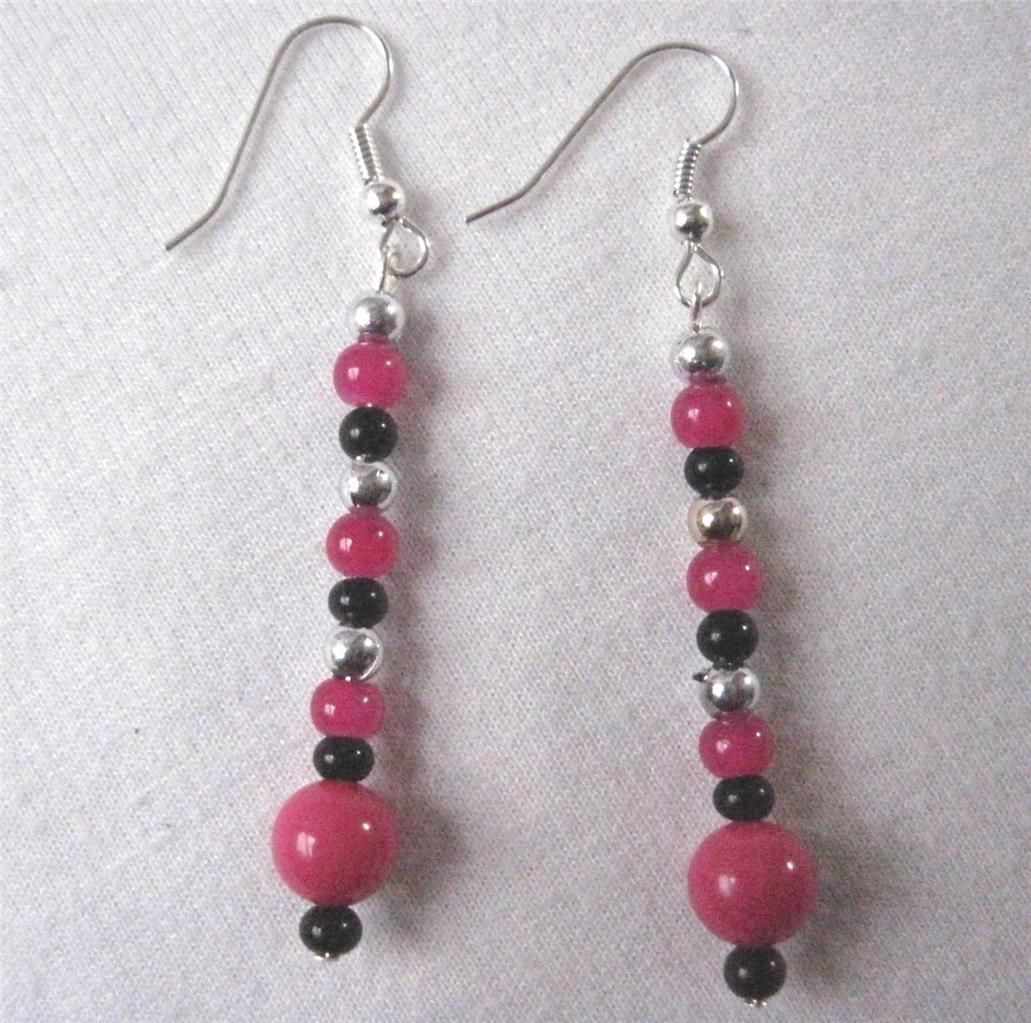 """2.5"""" Drop Dangle Earrings Dark Pink Black Silver Tone Accent & Wires Scrap Ditty - $4.89"""