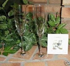 Longaberger Champagne Flutes Set 2 Lead Free Tritan Titanium Germany New... - $21.73