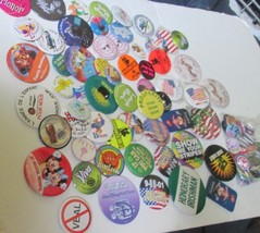 Huge lot of 100 mixed Collectible BUTTON PINS mixed sizes most round, so... - $19.99