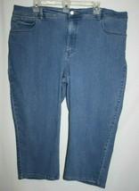 Lee Platinum Womens Plus 22W Medium Blue Denim Capri Pants Classic Fit Stretch - $19.34
