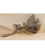 Vintage Marcasite Sterling Silver Flower Brooch - $10.00