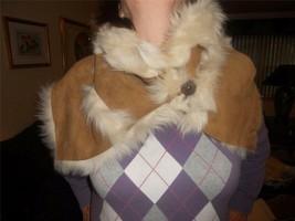 UGG Sheepskin Baily Luxurious Shearling Snood Infinity Scarf Chestnut Ne... - $344.20