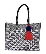 Black & white beach tote plastic shopping handwoven Bag With pom Tassel - $85.00