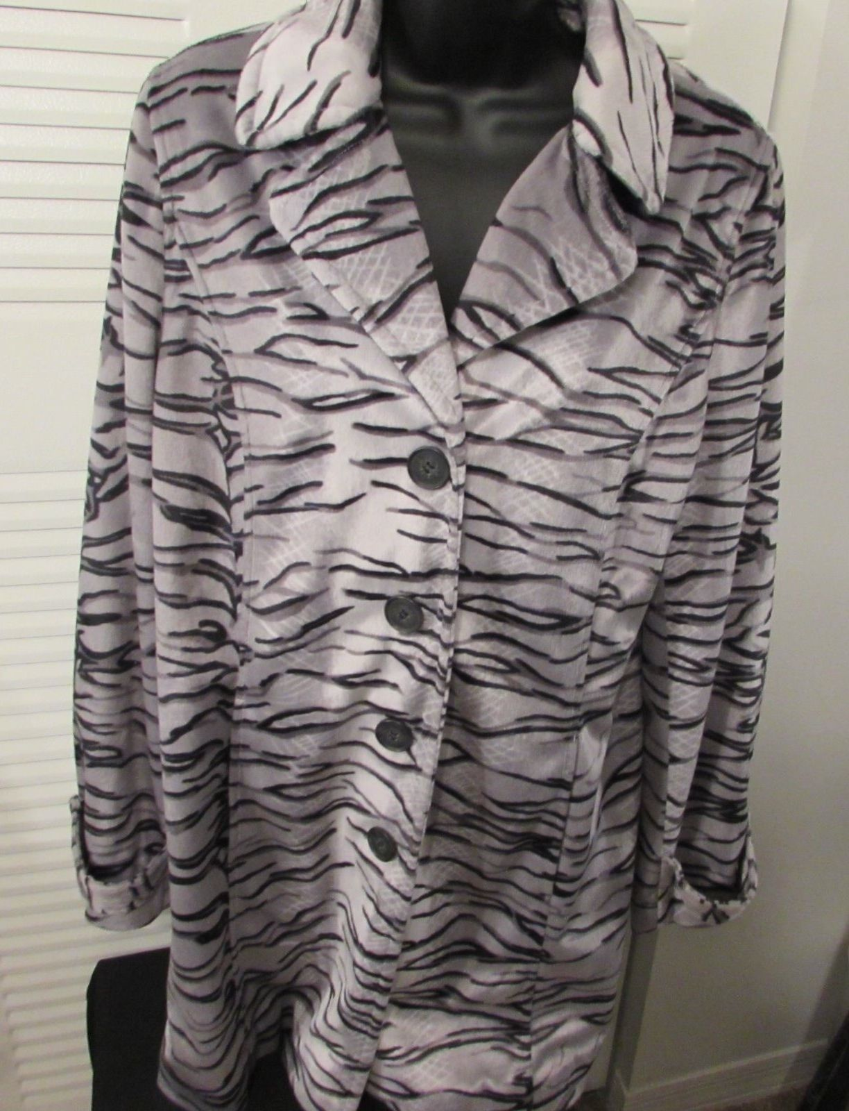 Dennis Basso Women's Animal Print Multi-Color Basic Coat/Jacket Polyester Size M