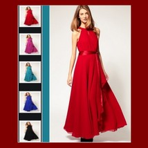 Long Sleeveless Turtleneck Belted Chiffon Maxi Summer Evening Party Prom Gown - $59.95