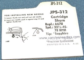 RECORD NEEDLE STYLUS for Shure W26 Shure PC40 Shure PC41 Jensen JPS-312 image 2