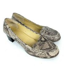 EASY SPIRIT Esmaeli Block Heel Penny Loafers Snake Print Leather Womens size 7.5 - $19.79