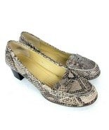 EASY SPIRIT Esmaeli Block Heel Penny Loafers Snake Print Leather Womens ... - $19.79