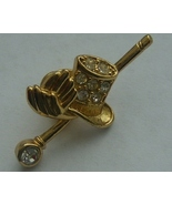 Avon Gold Tone Top Hat  Cane Tac Pin - $9.00