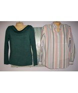 LOT OF TWO SHIRTS NEW BANANA REPUBLIC Cowl Neck Top + Classic Striped Ox... - $9.99