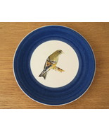Hand-painted Finch Bird with Wide Navy Blue Band Ceramic Decorative Plate - $18.00