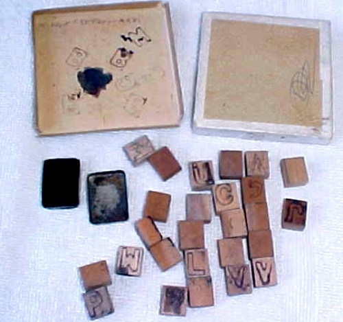 Antique Childs Wooden Alphabet Printing Blocks With