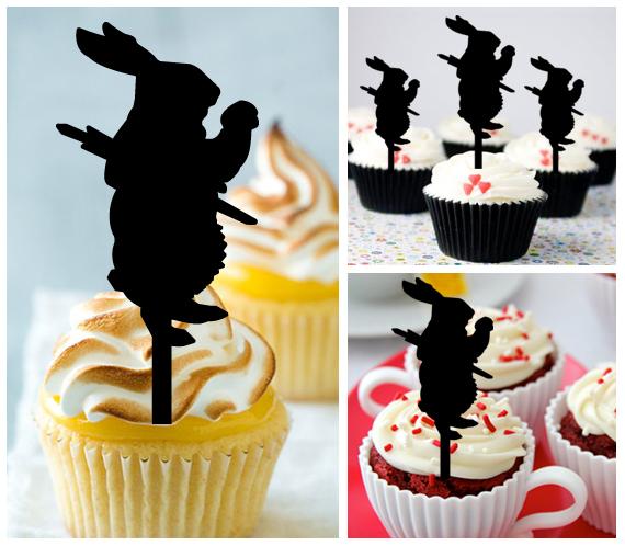 Wedding,Birthday Cake topper,Cupcake topper,silhouette Alice white rabbit 11 pcs