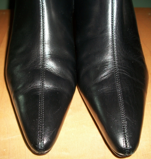 SEXY GENIUNE LEATHER Knee High Black Heeled Boots