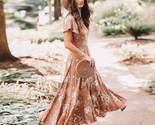 Dress below knee dress khaki s boho chic v neck flutter sleeve dress 4195344941104 thumb155 crop