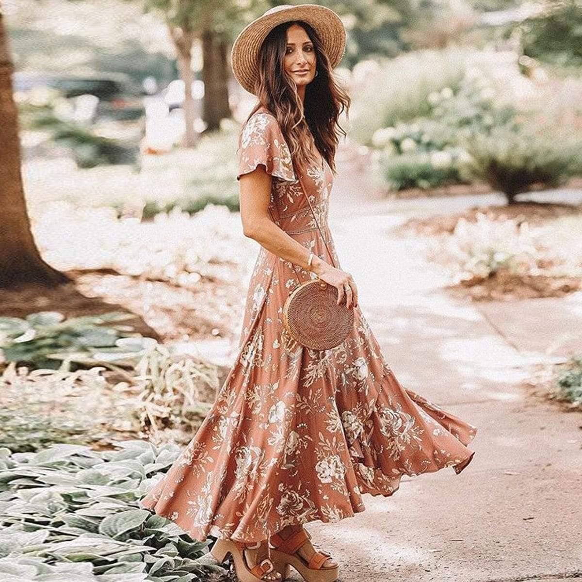 Boho Chic V-Neck Flutter Sleeve Dress