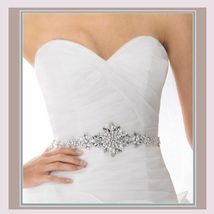 Bridal Accessories Crystal Trim Rhinestone Beaded Applique Wedding Sash Belt  image 1