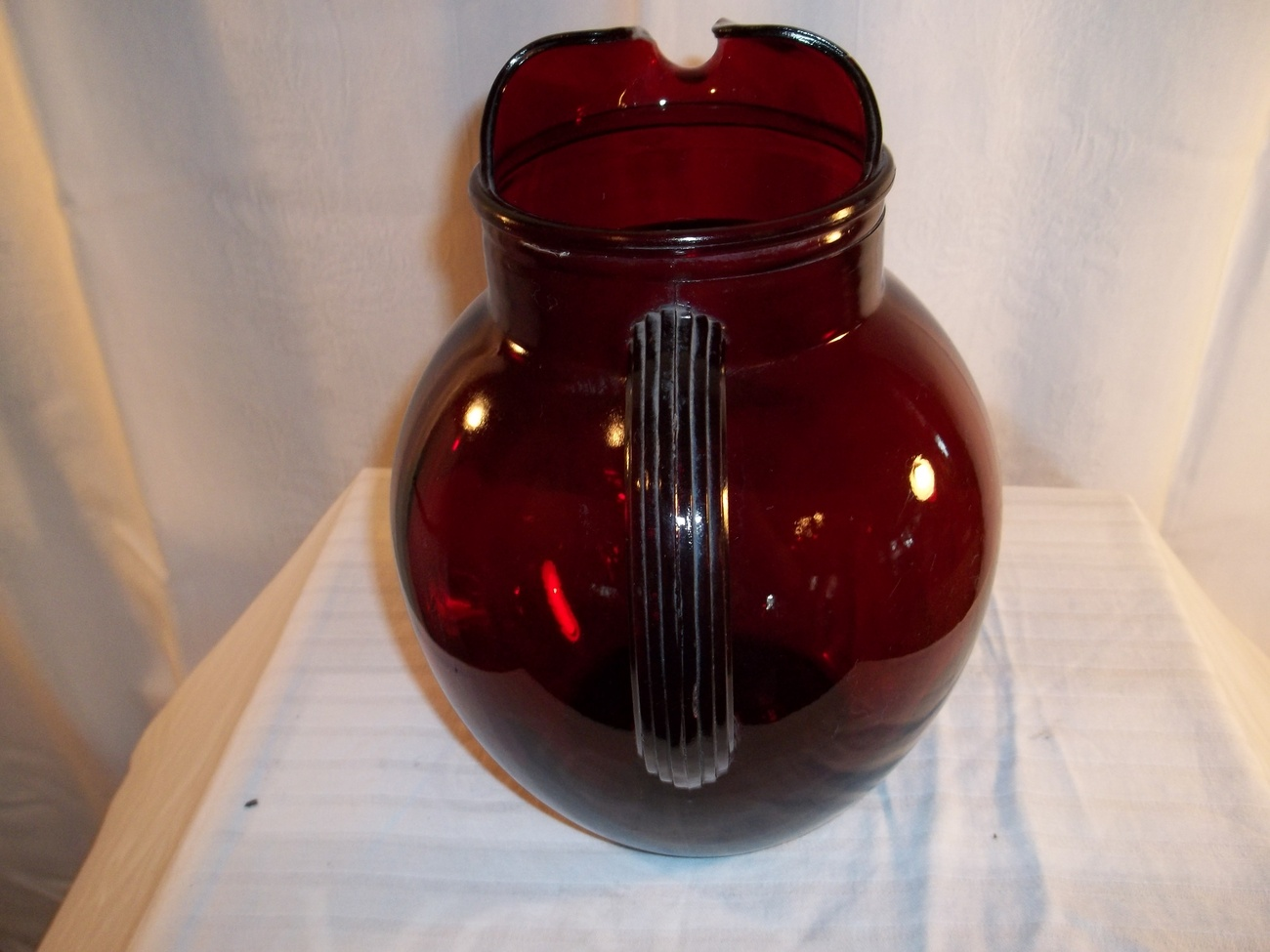 RUBY GLASS BALL PITCHER