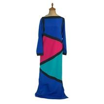 Vintage 1980s Oscar de la Renta I. Magnin Color Block Maxi Dress Hostess... - $42.08