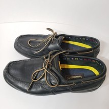 Timberland Mens Loafers 10M Black Leather Casual Dress Boat Shoes - $45.30 CAD
