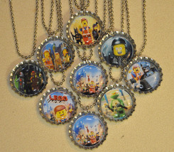 Set of 9 LEGO MOVIE Bottlecap NECKLACES! L3 Great for birthday party fav... - $9.99