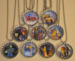 Set of 9 LEGO MOVIE Bottlecap NECKLACES! L2 Great for birthday party favors - $9.99