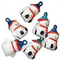 6 SNOWMAN Jingle BELLS Brass Christmas Crafts Beads - $5.46