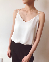 WHITE Summer Chiffon Top Sleeveless V-Neck Chiffon Tank Wedding Bridesmaid Tops  image 1