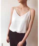 WHITE Summer Chiffon Top Sleeveless V-Neck Chiffon Tank Wedding Bridesma... - $19.50