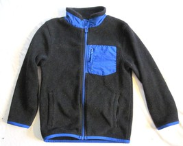 Child Size Small  5/6  Place Fleece Jacket Black Blue Trim Front Zip Polyester - $8.81
