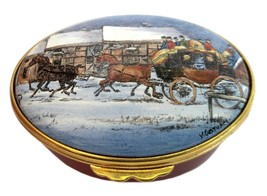 Ashley Enamel Collection Horse Carriage Winter Scene - $35.00