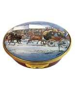 Ashley Enamel Collection Horse Carriage Winter Scene - $69.00