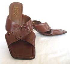 "Franco Sarto  Brown Leather Backless Sandal Heels Women's Size 6M  2.5"" Heel - $14.69"