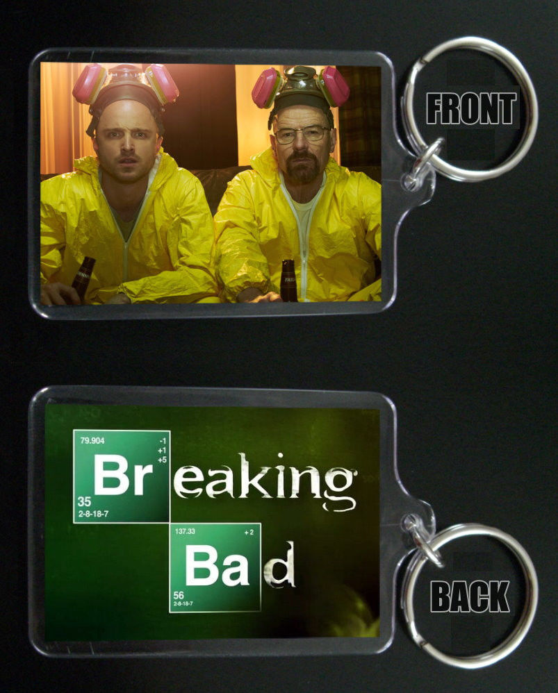 Primary image for BREAKING BAD keychain / keyring Aaron Paul Bryan Cranston JESSE & WALTER WHITE 7