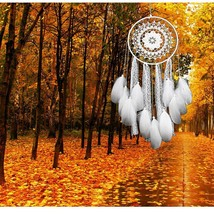 White Lace Dream Catcher Chimes Handcrafted Art Hanging Wall Decoration New - $14.95