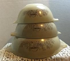 Vintage Pyrex Forest Fancies 3 Piece Stackable Cinderella Bowls 442, 443... - $32.99