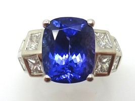 14k Fine Cushion 4.19ct Genuine Natural Tanzanite Ring with Diamonds (#3554) - $3,526.88