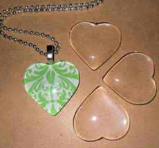 10 Clear 1 Inch Glass Tile Hearts for Jewelry Making and Crafting - $7.91