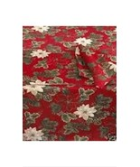 """Bardwil Poinsettia Pine Damask Oblong Tablecloth RED 60"""" x 102"""" NEW - $24.99"""
