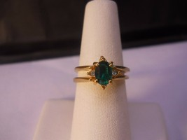 14 Kt GP Green Cubic Zirconia Facet Stone Ring Size 7  #FJW517 - $24.99
