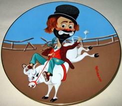 <><  Vintage collectore plate Red Skeleton Bronco Freddie clown on bull ... - $8.32