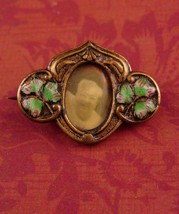 5antique Irish brooch / 1800s Lucky green clover / vintage sweetheart pi... - $95.00