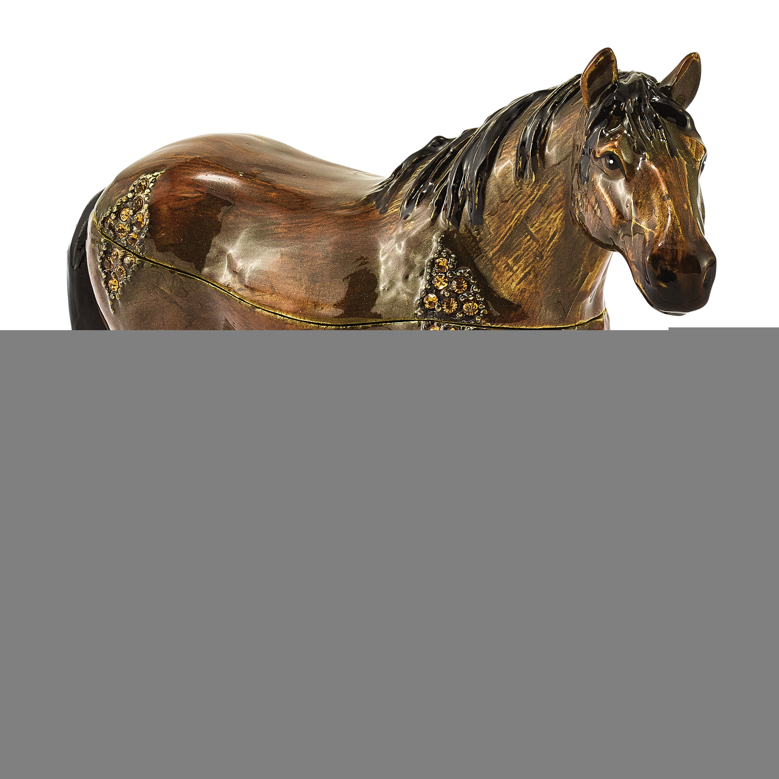 Primary image for Non Metal Bejeweled Spencer Dark Bay Horse Trinket Box (Length=5.1) (Width=1.4)