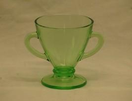 Vintage 1930's Hazel Atlas Ovide Depression Green Glass Footed Open Suga... - $14.84