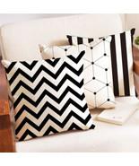 Geometric Stripe Cusion Cover Cotten Linen Car Sofa Chair Pillow Case Ho... - $3.86