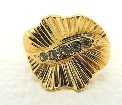 VTG Gold Tone Art Nouveau Styled Clear Rhinestone Leaf Ring Size 8.5 - $9.90