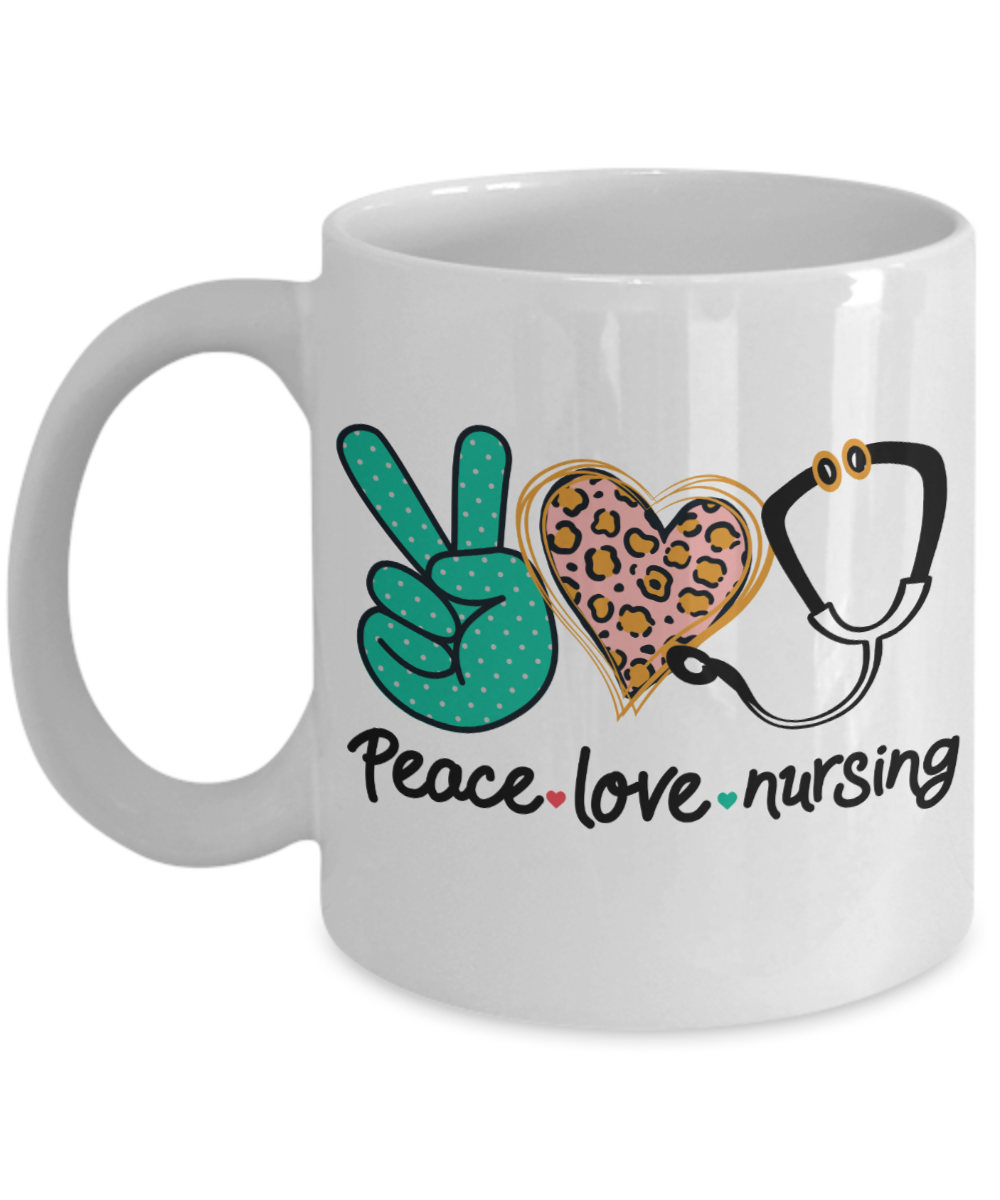 Primary image for Nurse Coffee Mug Thank You Gift Peace Love Nursing v2